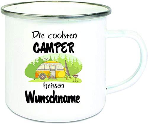 Crealuxe Emaille Tasse mit Rand Die coolsten Camper heißen Wunschname - Kaffeetasse mit Motiv, Campingtasse Bedruckte Email-Tasse mit Sprüchen oder Bildern