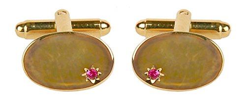 Ovale avec Ruby - Boutons de manchette plaqué or. Une paire de boutons de manchette/Pince à cravate ou othet Accessoire... Le cadeau idéal pour certai