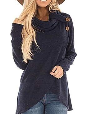 Mujer Suéter Cárdigan,Sonnena ❤️ Blusa de manga larga mujer otoño invierno Sudadera Casual Sólida Blusa superior...