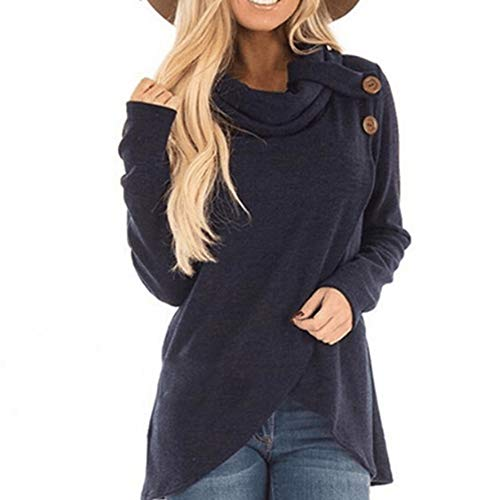 Robemon Femmes Hoodie Automne Hiver Manches Longues Casual Solide Sweat-Shirt Pull Top Blouse (Vin Rouge, XL)