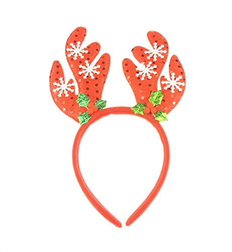 Chichi Gifts Christmas Party Deeley Bopper Haarreif Alice Band Schneeflocke Geweih rot (Halloween-montage-ideen)