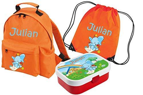 Mein Zwergenland Set 4 Kindergartenrucksack Classic und Brotdose Mepal mit Bento Box und Gabel + Turnbeutel mit Name Elefant, 3-teilig, Orange