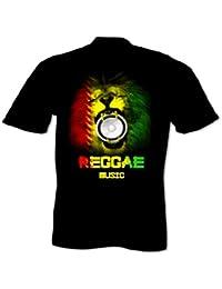 Homme T-Shirt Musique Reggae Rasta Lion