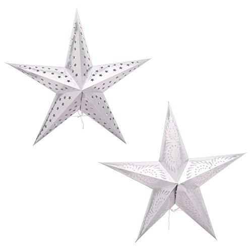 Indische handgefertigte weiße Papierstern-Laterne 2 Stück Lampen Weihnachten festlich faltbar Papier Hängelampen