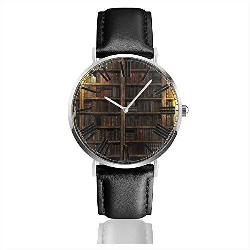 PecoStar Bücherregal Herren Damen Lederband Uhren Business Analog Quarz Wasserdicht Armbanduhr Casual Armbanduhr mit Lederband