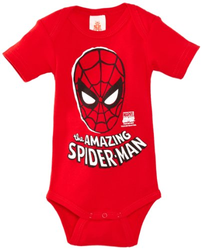 Logoshirt - Combinaison Bébé garçon Babybody Marvel- the amazing Spider man- Mask - Rouge (Red) - 3 mois
