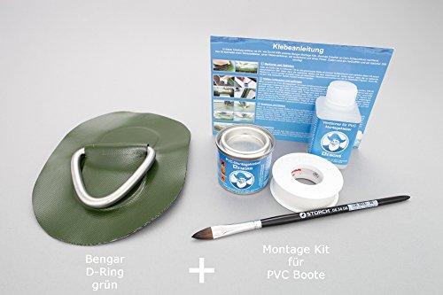 Set: D-Ring + Kleber Kit, Beschlag zum aufkleben für Schlauchboote (grün) DR-K1