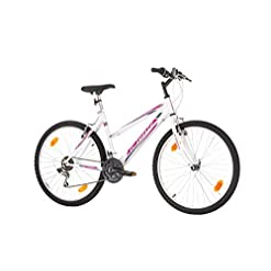 """26 """"pollici, CoollooK, SENSE 6ST, Mountain bike femminile, Hardtail Cornice, 18 velocità, Shimano, Cerchi Mach 1, Bianco-Rosa"""
