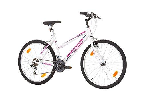 26 Zoll 6ST SENSE EU-PRODUKT Damenfahrrad Mädchenfahrrad Mountainbike Rad Bike Cycling Kinderfahrrad Jugend Fahrrad Jungen MTB SHIMANO 18-GANG BLAU WEISS Schaltung mit Beleuchtung nach STVO (ROSA - WEISS)