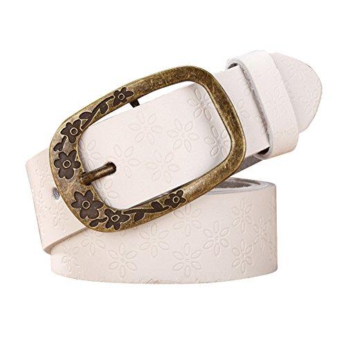 QincLing Damen Retro geprägt Rindsledergürtel mit gravierter Pin Gürtelschnalle (Buckle Womens Belt Western)