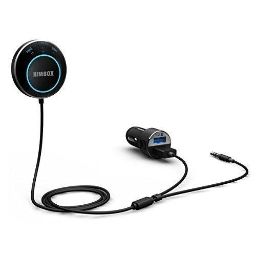 iClever Himbox HB01 Auto Bluetooth 4.0 Transmitter mit Freisprechfunktion (AUX 3,5 mm, Siri / Sprachaktiviert, Dual USB Ports) für iPhone, Samsung, HTC, Nokia, BlackBerry, LG Smartphone, Schwarz