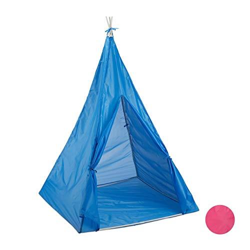 Relaxdays- Jeu pour Enfants Tipi intérieur extérieur Tente dès 3 Ans Indien 100 cm Wigwam, Bleu, 10025738_45