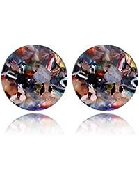 Dabixx Pendientes de Oreja, Acido ácido Leopardo acrílico geométrico Redondo Grande círculo Pendientes de Gota para Las Mujeres