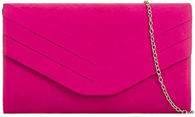 H&G Plain Faux Suede Envelope Clutch Bag