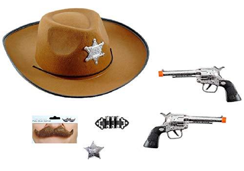 GH Kit Accessori Travestimento Sceriffo Adulto Costume Carnevale Cowboy Uomo Cappello Pistola Distintivo PROIETTILI Baffi Sceriffo