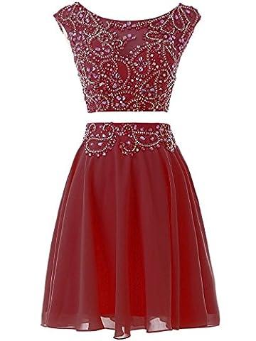 Solovedress Frauen Zwei 2 Stück Heimkehr Kleid Perlen Kurzes Abendkleid Ballkleid(Burgund, Eur34)