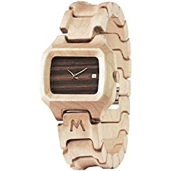 MATOA Sunda - Handmade wooden watch from reclaimed Canadian Maple wood | Unisex woodwatch for men & women | Special giftbox from Mahogany wood