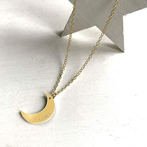 Collar Personalizado de Media Luna de Oro, joyería celeste, regalo de día de San Valentín, regalo de cumpleaños