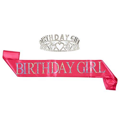 t Geburtstags-Mädchen-Tiara-Geburtstags-Schärpe - Strass Krone Geburtstags-Mädchen-Polyester Sash Dekoration 16, 18, 21. 30. Geburtstage Quinceaneras Mehrfarbig ()