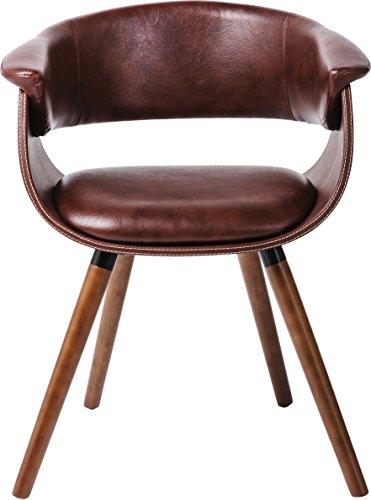 Kare design - Fauteuil simili cuir marron et bois vintage Monaco