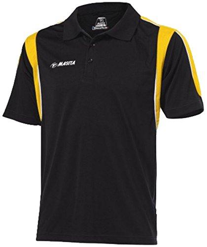 Neue Masita Polo Sport Shirts Hälfte gezackte Abschlüsse Herren Gestreift Casual Shirts Polo Top mehrfarbig - schwarz / gelb