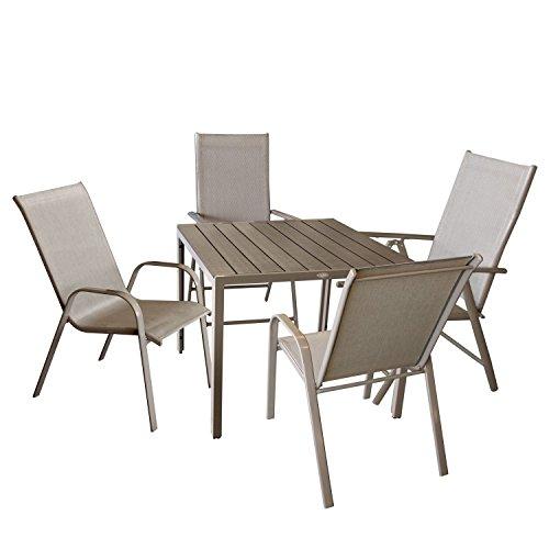 Wohaga Bistrogarnitur 5-Teilig Sitzgarnitur Gartengarnitur Gartenmöbel Set Gartentisch mit Polywood Tischplatte, 90x90cm + 2X Hochlehner, 7-Fach Verstellbarer Rückenlehne + 2X Stapelstuhl