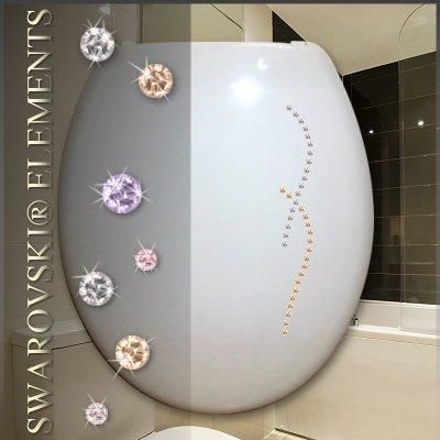 TrendLine WC-Sitz Soft schwarz mit Strass MDF Absenkautomatik Metallscharniere