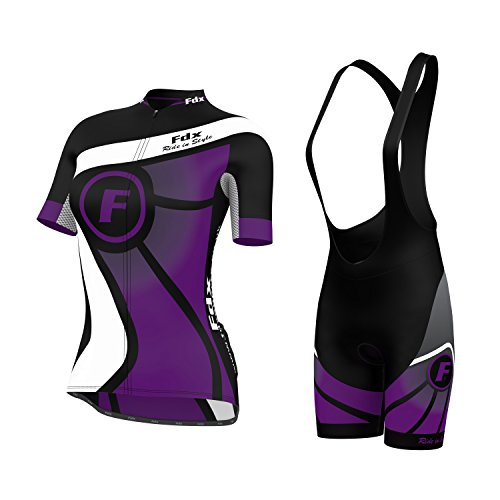 FDX Damen Fahrradtrikot, Halblange Ärmel, Trikot + Trägerhose im Set, violett, L