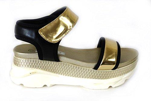 Sandales à bout ouvert pour femmes Vacances d'été, plage Gold (82138-5)