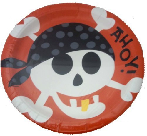 Pirate Fun Party Plates, 22.9 cms/9 ins, pack of 8