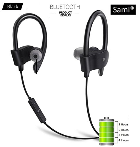 57fa2af7cb2 Sami Wireless Bluetooth 4.1 in-Ear Noise Isolating Blue Sport Earbuds with  Mic and Controller, Sweatproof, Designed for Running, Jogging and Gym  (Black) by ...