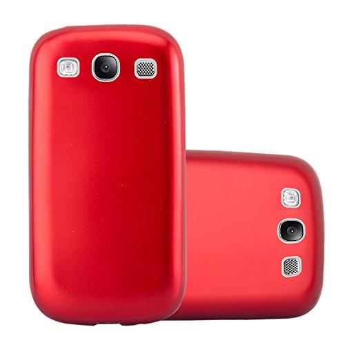 Cadorabo Custodia per Samsung Galaxy S3 / S3 Neo in Rosso Metallico – Morbida Cover Protettiva Sottile di Silicone TPU con Bordo Protezione – Ultra Slim Case Antiurto Gel Back Bumper Guscio