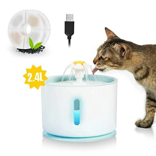 TKLake Haustier Trinkbrunnen mit LED-Licht, 2,4 l leiser gesunder und hygienischer automatischer Springbrunnen für Katzen, Hunde, Kleintiere, Geschenk, mit 2 Ersatzfiltern