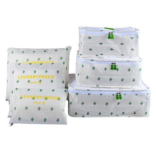Packing Cubes Koffer Organizer, Coolzon Packtaschen Packwürfel Kleidertaschen, Wasserdicht Reiseorganizer Wäschebeutel Schuhbeutel Reise, 6 Stück, Kaktus