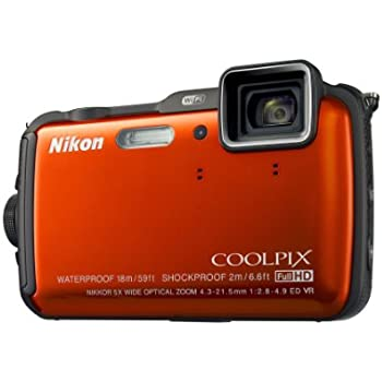 Nikon COOLPIX AW120 Waterproof Shockproof Freezeproof Compact Digital Camera - Orange (16.0 MP, 5x Zoom) 3.0 inch OLED with Wi-Fi and GPS (discontinued by manufacturer)