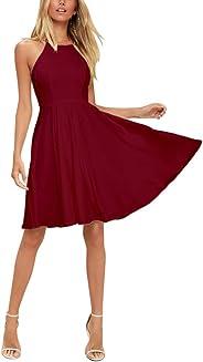 فستان BELONGSCI للسيدات بدون أكمام بتصميم جذاب وحزام إسباغيتي متأرجح مطوي على شكل حرف A