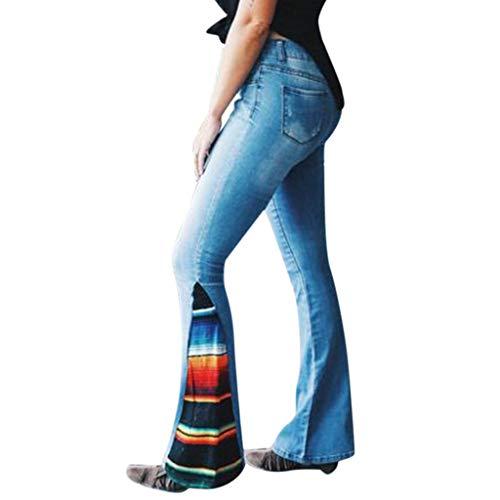 ??TTLOVE Damen Sommer Schlaghose Hohe Taillen-Farbe, Die Jeans-Knopf-Taschen-Hosen Bell-Bottom Hosen Blockiert,Hippie Zum KostüM Zu Fasching Jeans, Schlag Hose, Schlagjeans(Blau,M)