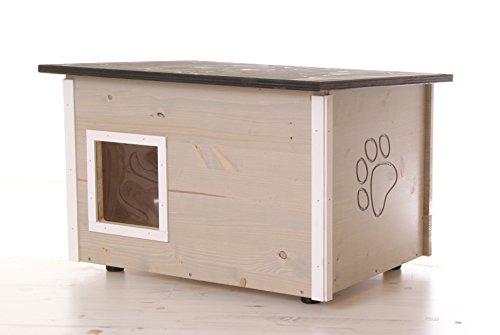 katzeninfo24.de graues Katzenhaus – Katzenhütte mit Heizung, Boden und Wände wärmegedämmt