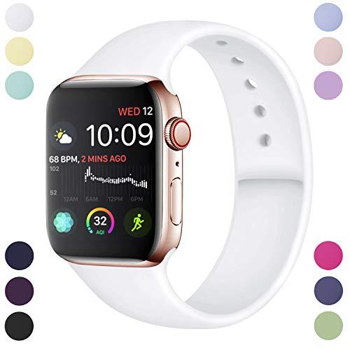 Hamile Armband Kompatibel für Apple Watch 38mm 40mm, Weiche Silikon Wasserdicht Ersatz Uhrenarmbänder für Apple Watch Series 5, Series 4, Series 3, Series 2, Series 1, S/M Weiße