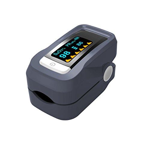 Cusfull Pulsoximeter SpO2 Fingerpulsoximeter mit OLED Farbdisplay Pulsmessgerät, Oximeter, Pulsmesser, Finger Blutdruckmessgerät (Grau)