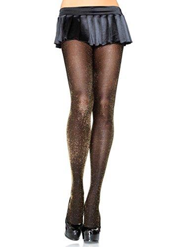 Leg Avenue 7120 - Glitzer Lurex Strumpfhosen, Einheitsgröße, schwarz/gold, Damen Karneval Kostüm Fasching Sexy Gold-glitter