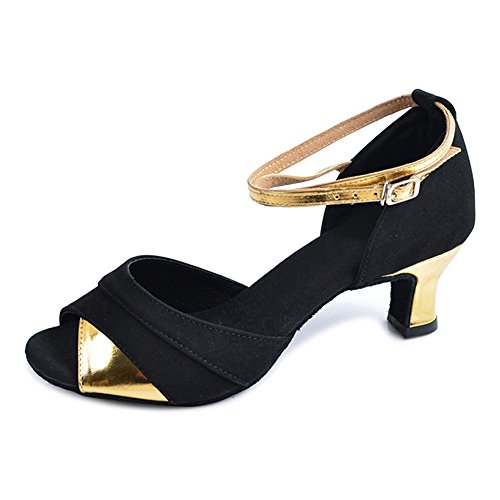 Scarpe da ballo da ballo latino da donna con tacco a punta svasata Indoor Nero Oro