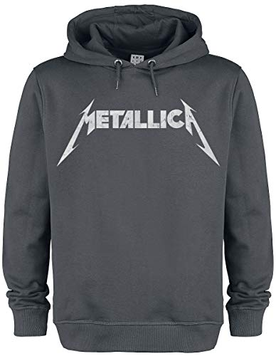 Metallica Amplified Collection - White Logo Sudadera con Capucha Gris Marengo M