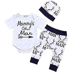 IMJONO Garçon Ensemble, Nouveau Bébé Fille Garçon Nuage Impression et Pantalons Ensemble de vêtements(Q-E-Blanc,0-3 Mois
