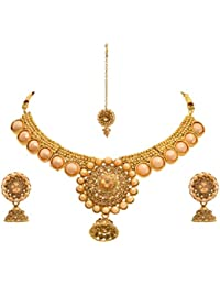 JFL - Traditional Ethnic One Gram Gold Plated Diamond Pearls Designer Necklace Set With Earring For Women And...