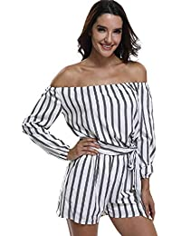 cf45755e7a9a MISS MOLY Womens Playsuits Rompers Jumpsuits Ladies Off Shoulder Sexy  Strapless Long Sleeves Waist Tie