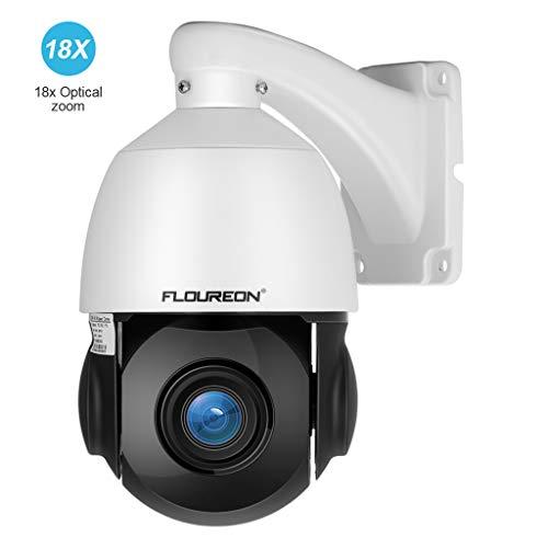FLOUREON Caméra de Sécurité 1080P Caméra IP HD Etanche ONVIF Cam PTZ Grand Angle de Vue 360°2.0 MP 18x Zoom Caméra de Surveillance Vision Nocturne 50M Détection de Mouvement