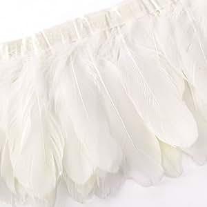 200x17cm Ruban de Plumes d' oie blanc couture ornement décoration