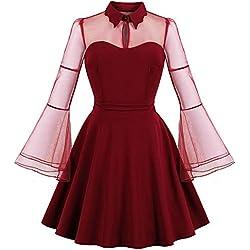 DICKL Plus La Taille Vin Rouge Dentelle Partie Vintag Stretchy Vintage Robe des Femmes À Manches Longues Robe Rétro Flare