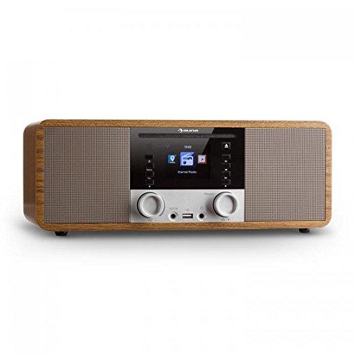auna IR-190WD - Digitalradio, Internetradio, UKW Radio, 2 x 8 W RMS,Wecker, Netzwerkplayer, Bluetooth, USB-Port, AUX-Eingang, WLAN-Radio, 2,8-Zoll TFT-Farbdisplay, walnuss
